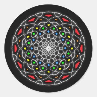 Stickers psychédélique kaléidoscope coloré sticker rond
