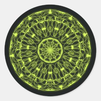 Stickers psychédélique noir et vert sticker rond