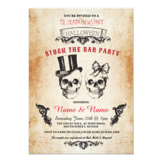 Stock de crâne l'invitation gothique de Halloween Carton D'invitation 12,7 Cm X 17,78 Cm