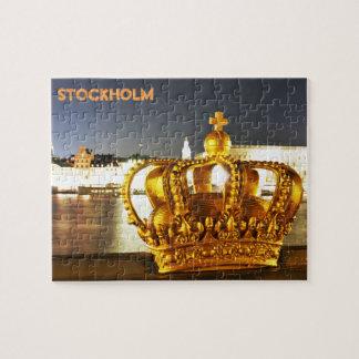 Stockholm, Suède à Noël la nuit Puzzle