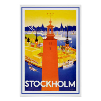 Stockholm vintage Suède Poster