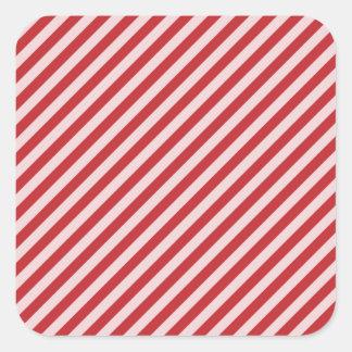 [STR-RD-1] Sucre de canne rouge et blanc barré Sticker Carré