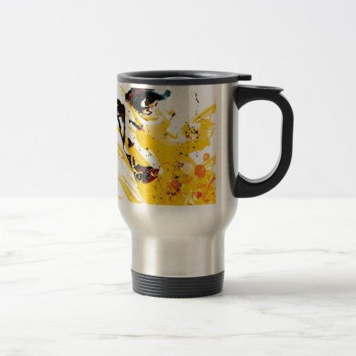 street art painting yellow mugs à café
