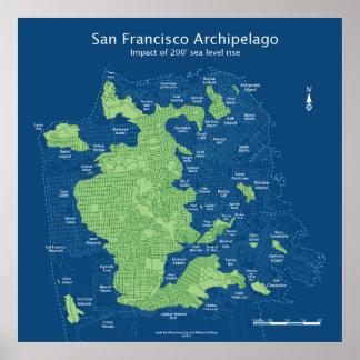 """Streetmap submergé 36x36"""" 200ft de San Francisco Posters"""