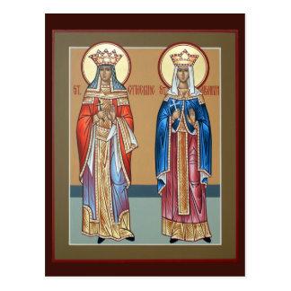 Sts. Cartes de prière de Catherine et d'Alexandra Carte Postale