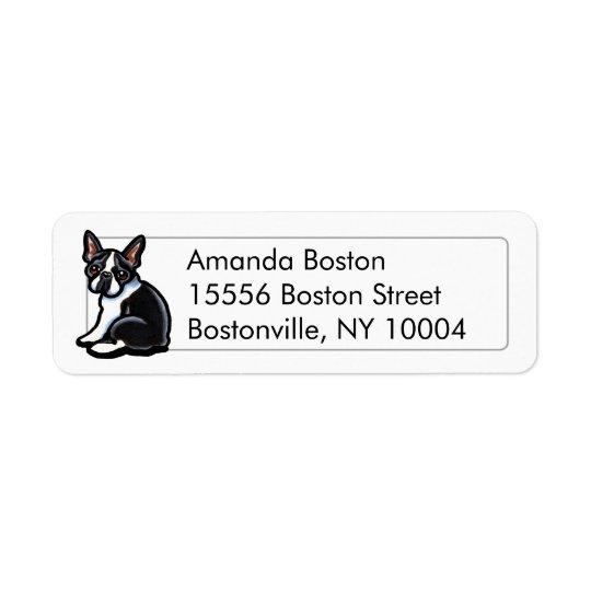 Studio de profil de Boston Terrier simple Étiquette D'adresse Retour