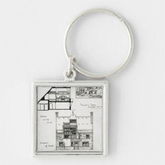 Studio et cottage pour Mlle Rosa Corder Porte-clé Carré Argenté