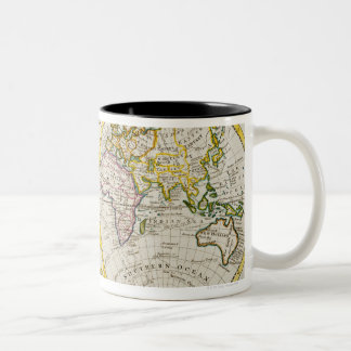 Studio tiré de la carte antique du monde mug bicolore