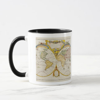 Studio tiré de la carte antique du monde tasse