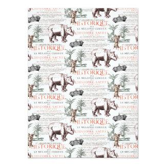 Style antique d'Abrecht Durer de rhinocéros de Carton D'invitation 13,97 Cm X 19,05 Cm