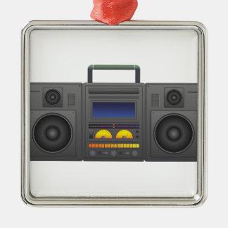 style Boombox de hip hop des années 1980 Ornement Carré Argenté