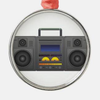 style Boombox de hip hop des années 1980 Ornement Rond Argenté