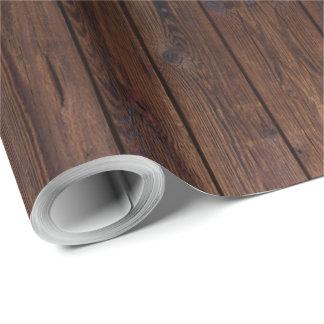Style campagnard en bois en bois foncé rustique de papier cadeau noël