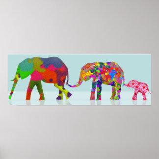 Style coloré d'art de bruit de 3 éléphants posters