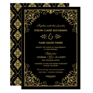Style d'art déco des invitations   de mariage