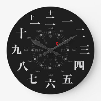 Style de kanji du Japon [visage noir] Grande Horloge Ronde