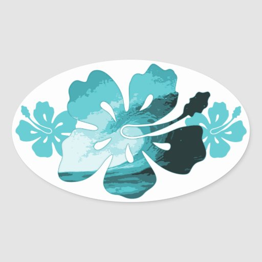 Style de surf de ketmie stickers ovales