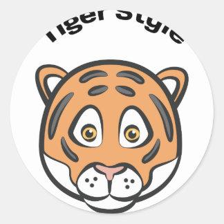 Style de tigre sticker rond