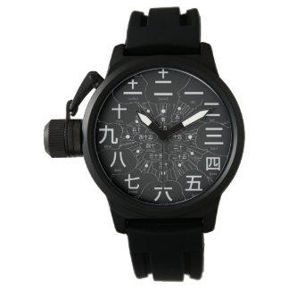 Style du kanji MANGA du Japon [visage noir 3] Montres