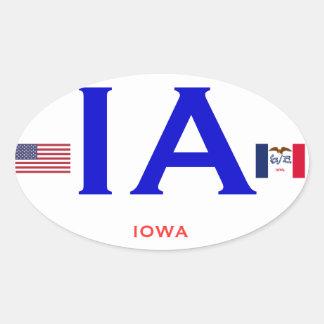 Style européen OvalSticker d'Iowa* Sticker Ovale
