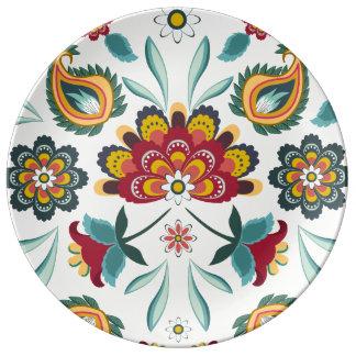 Style floral d'Indonésien de Boho de batik Assiettes En Porcelaine