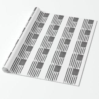 Style grunge noir de purge de drapeau américain papier cadeau