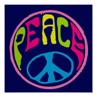 Style hippie psychédélique de signe de paix