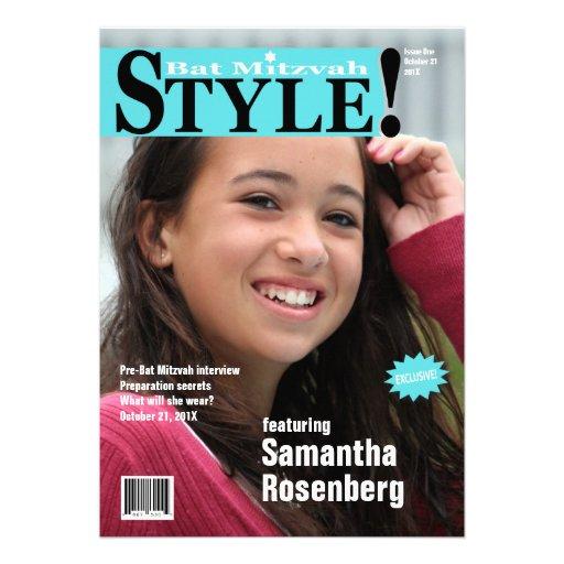 Style ! Invitation de magazine de bat mitzvah bleu