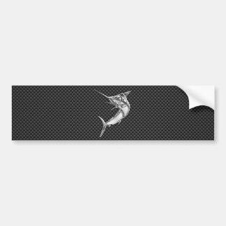 Style Marlin de chrome sur la fibre de carbone Autocollant Pour Voiture