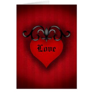 Style médiéval gothique de coeur rouge romantique cartes