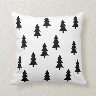 Style noir abstrait moderne de Scandinave d'arbres Coussin