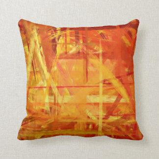 Style peint par beaux-arts jaune-orange coussins carrés