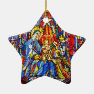 Style peint par nativité en verre souillé ornement étoile en céramique