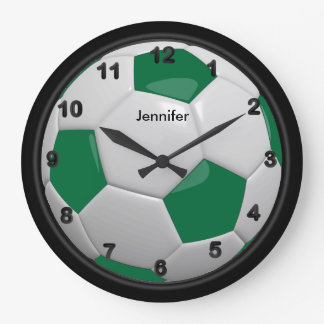 Style vert-foncé de ballon de football grande horloge ronde