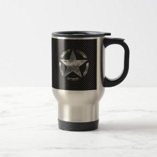 Style vintage de fibre de carbone d'étiquette de mug de voyage en acier inoxydable