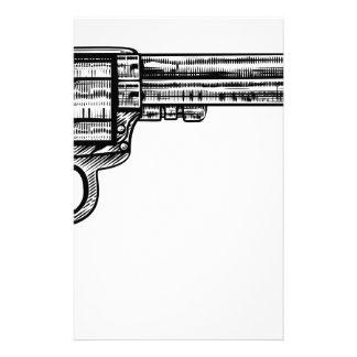 Style vintage de gravure sur bois en arme à feu de papier à lettre customisé