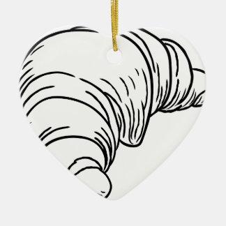 Style vintage de gravure sur bois en croissant ornement cœur en céramique