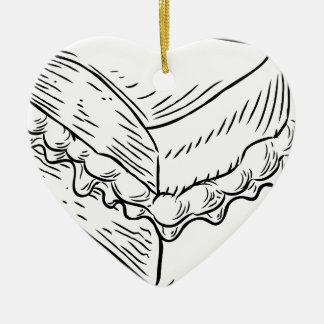 Style vintage de gravure sur bois en gâteau ornement cœur en céramique