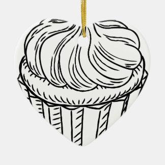 Style vintage de gravure sur bois en petit gâteau ornement cœur en céramique
