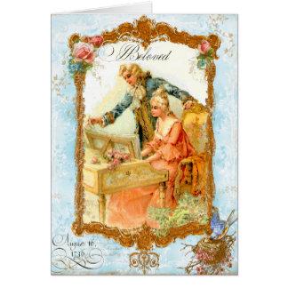 Style vintage français de couples romantiques carte de vœux