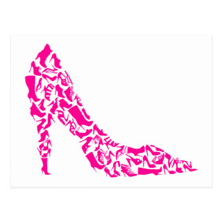 Stylet rose avec de diverses silhouettes de cartes postales