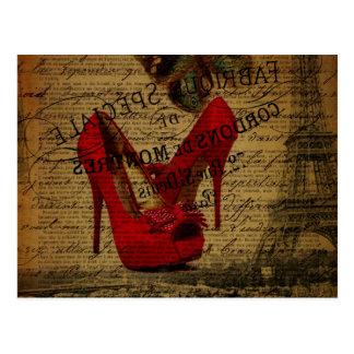 Stylets de rouge de fashionista de Tour Eiffel de Carte Postale