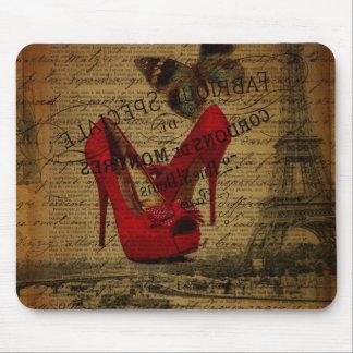 Stylets de rouge de fashionista de Tour Eiffel de Tapis De Souris