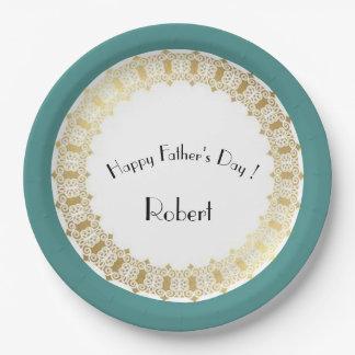 Stylish-Father's-Day_Medieval-Gold-Shield-Blue* Assiettes En Papier