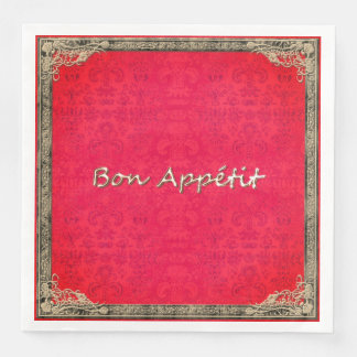 STYLISH-FRENCH-EVERYDAY-RED-DAMASK-NAPKIN SERVIETTES EN PAPIER