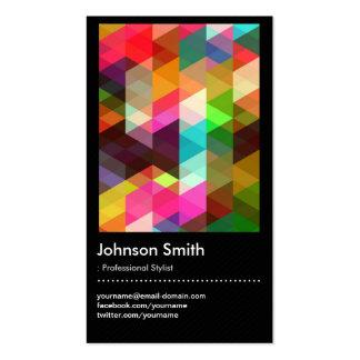 Styliste de mode - motif de mosaïque coloré cartes de visite professionnelles