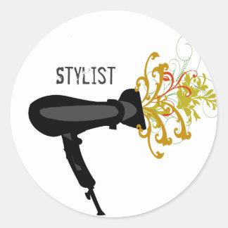 Styliste de sèche-cheveux floral sticker rond