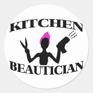 Styliste d'esthéticien de cuisine à la maison sticker rond