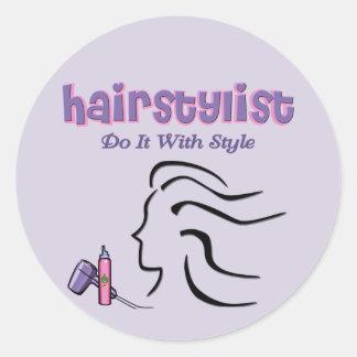 Styliste en coiffure adhésifs ronds