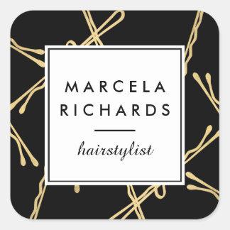 Styliste en coiffure chic de pinces d'or, salon de sticker carré